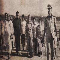 After vising the Shripada Mandapam, Smt. Indira Gandhi is proceeding to the Vivekananda Mandapam.